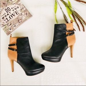 Zara Black and Tan Double Strap Ankle Booties